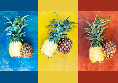 Creative pineapple layout from above.