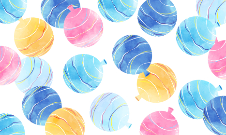 水風船, ヨーヨー, 水彩, 夏祭り, ベクター, 背景, コピースペース, フレーム, 夏, 風景