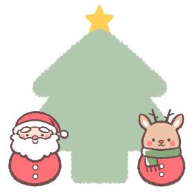 サンタクロースダルマとトナカイダルマのクリスマスツリーフレーム
