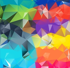 Abstract geometric background version 12. Multicolored triangles. Beautiful inscription. Triangle background with bright lines. Pattern of crystal geometric shapes. Mosaic banner. Abstract geometric background space