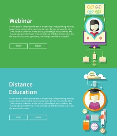 Webinar, distance education and learning. Online courses in web school. Knowledge and information. Study process. E-learning concept. Banners in flat design with place for text and butoons
