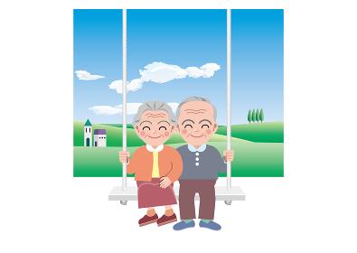 自然豊かな場所でブランコに乗る老夫婦