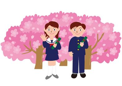 学生服の卒業式と桜