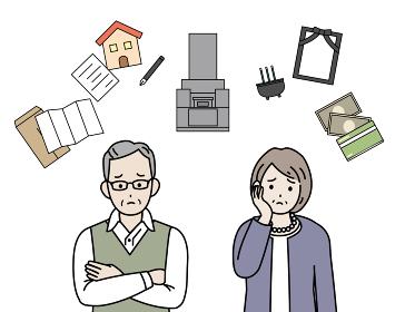 終活について考える老夫婦 相続 葬儀 お墓 遺書 悩み シニア 年配 高齢者 イラスト素材