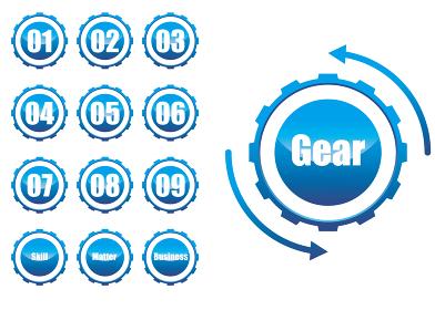 歯車ギアのインフォグラフィックスイラスト アイコン|コンセプト工業産業ビジネス