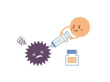 予防接種 ウイルス撃退 注射 コロナワクチン キャラクター イラスト素材