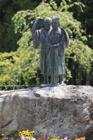 白河の関跡 芭蕉像