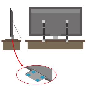粘着マットやベルトでテレビの転倒防止する方法のイラスト
