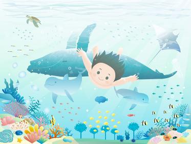 綺麗な海に潜る少年のイラスト