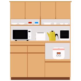 木製食器棚のイラストと家電 インテリア キッチン 食卓 食器 棚 ベクター