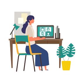 自宅のパソコンでテレビ会議をする女性のイラ