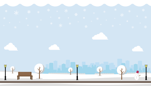 雪の積もった冬の公園 横長バナーイラスト