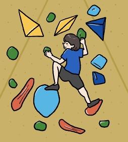 ボルダリングをする女性のイラスト