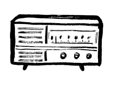 昭和レトロなラジオの手描きイラスト