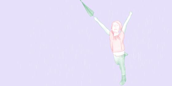 雨の中で閉じた傘を持ってジャンプして喜んでいる笑顔の女の子の手描きイラスト