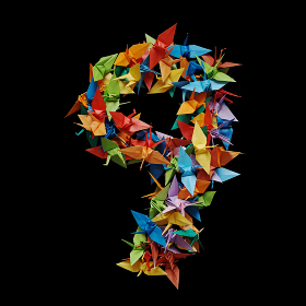 黒バックに折り紙の鶴で作った数字の9