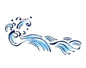 和風手描きイラスト素材 フレーム 飾り 波 海