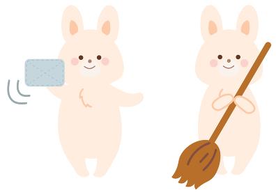 掃除をするうさぎのイラスト