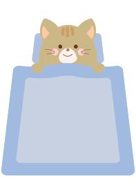 朝起きたネコのイラスト