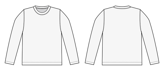 アパレルテンプレート / 長袖Tシャツ べクターイラスト