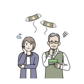 金欠 貯金 出費 お金がない 年配の男女 老夫婦 シニア 男女 貧困 イラスト素材