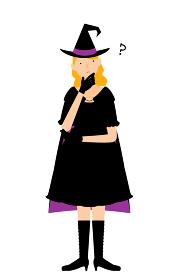 ハロウィンの仮装、魔女姿の女性が腕組みして悩むポーズ