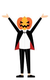 ハロウィンの仮装、カボチャのお化け姿の男の子が両腕を上げるポーズ