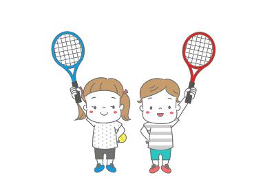 テニスラケットをもって張り切る男の子と女の子