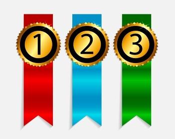 Gold Label 1, 2, 3 Vector Illustration. EPS10. Gold Label 1, 2, 3 Vector Illustration