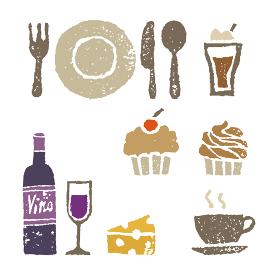 ワイン、スイーツ、カフェ、レストラン素材