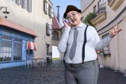 ビジネスマンの太った髭の中年男性がサスペンダーのズボンで帽子と丸メガネ姿で街中で携帯電話で通話する