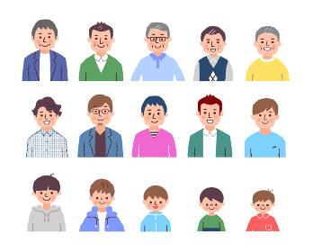いろいろな世代の男性 上半身 カラー