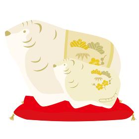 トラの親子の人形(座布団つき)の年賀状用イラスト(陶器風バージョン)