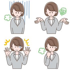 ネガティブな表情のスーツの女性_セット