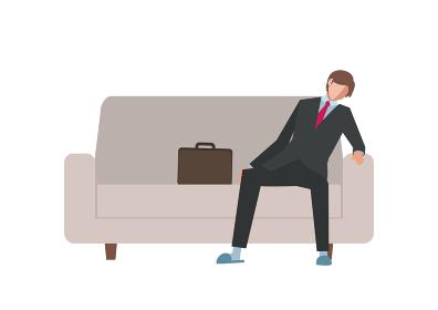 ソファでぐったりと疲れている仕事上がりの男性 白背景版 ベクターフラットイラスト
