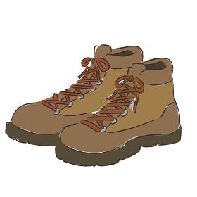 アウトドア 登山靴 靴 トレッキングシューズ イラスト 手描き 水彩 筆
