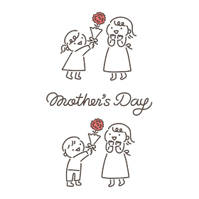 母の日・母に花をプレゼントする子供のイラストと筆記体ロゴ