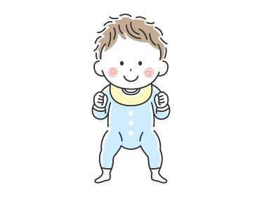 立っているご機嫌な赤ちゃんのイラスト