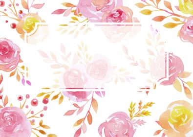 赤と黄色のバラの飾り枠