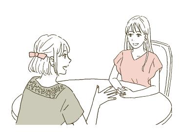 若い女性 カウンセリングや打ち合わせをする人物のイラストレーション