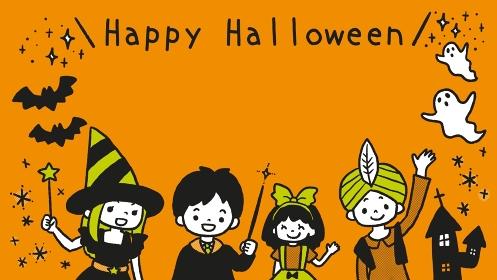 ハロウィンの仮装をした子ども達のフレームイラスト