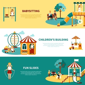 Playground Flat Banner. Flat horizontal banners with title and descriptions of playground equipment babysitting childrens building slides vector illustration