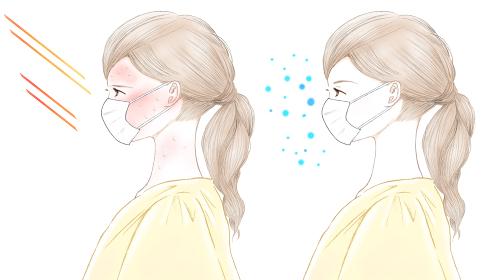 マスク熱中症とひんやりマスクの女性イラスト