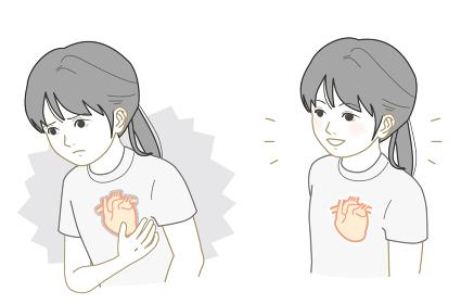 不健康な心臓、健康な心臓の女の子