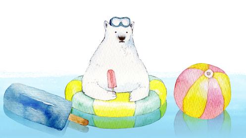 白クマ 浮き輪 海 水彩 イラスト 横長