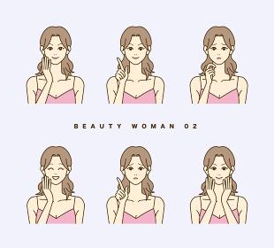 テーマは美容。女性の表情セット。