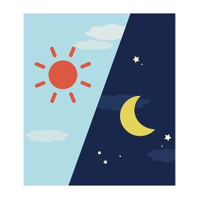 シンプルな朝と夜イメージ 角型アイコン(左から朝、夜)