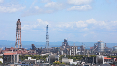 製鉄所のある町の風景