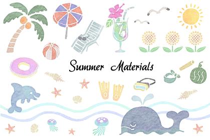 水彩版画風の夏のイラストのセット
