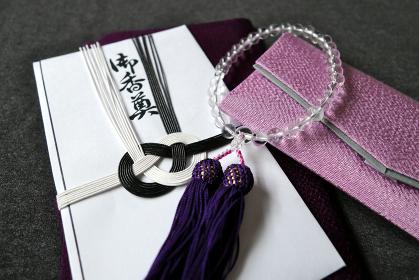 数珠と数珠袋と香典と袱紗 3 女性用